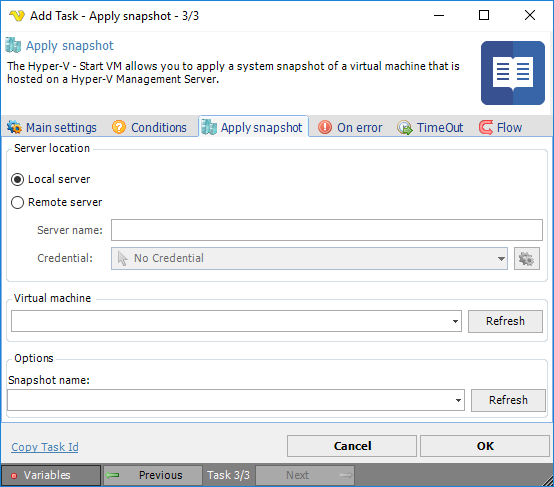 Task Hyper-V - Apply snapshot