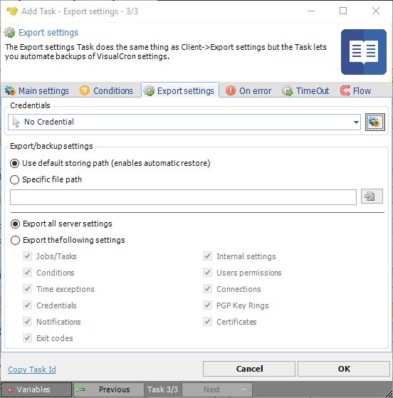 Task Internal - Export settings