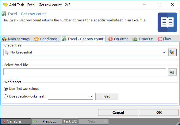 Task Office - Excel - Get row count