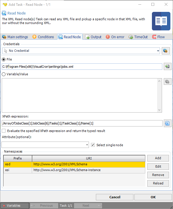 Task XML - Read node